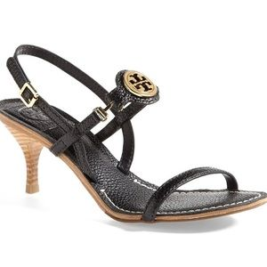 Tory Burch   Mira sandal black gold heel